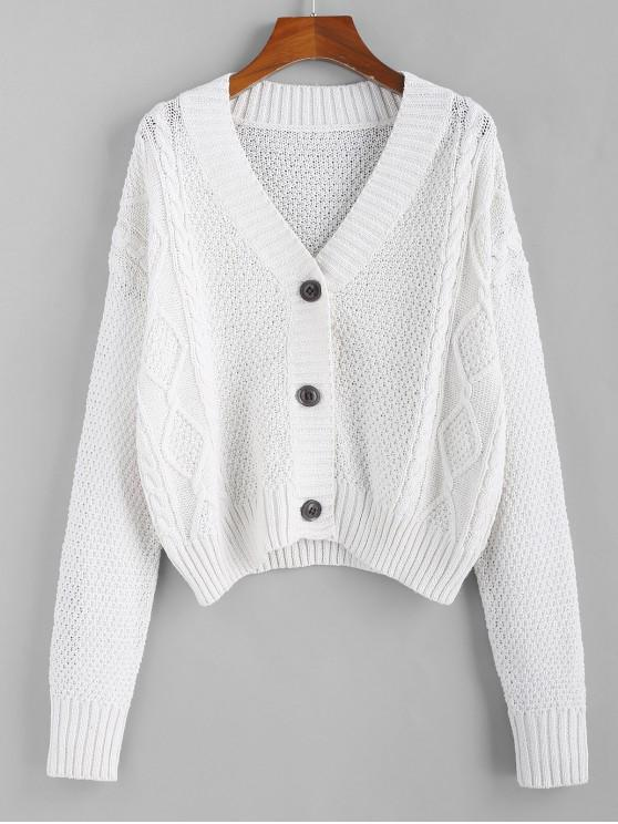 38% OFF] 2020 ZAFUL Button Up Cable Knit Cardigan In COOL WHITE .