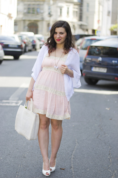 "Light Pink Dresses, White Cardigans | ""How about some pink?"" by ."