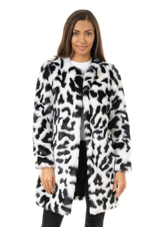 Women's Black & White Superstar Faux Fur Co