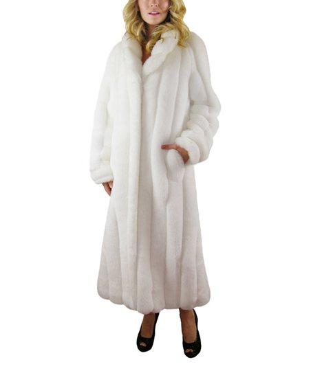 Silk & Sable White Faux Fur Full-Length Coat | Zuli