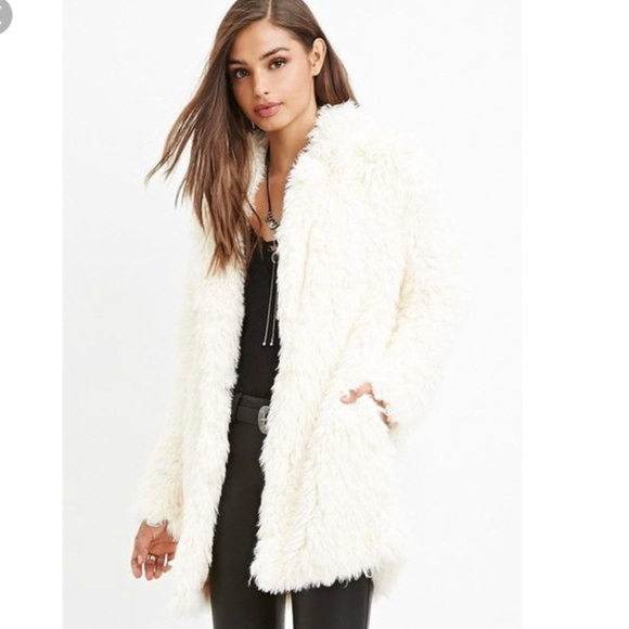 Jackets & Coats | Forever 21 White Faux Fur Coat Satin Interior .