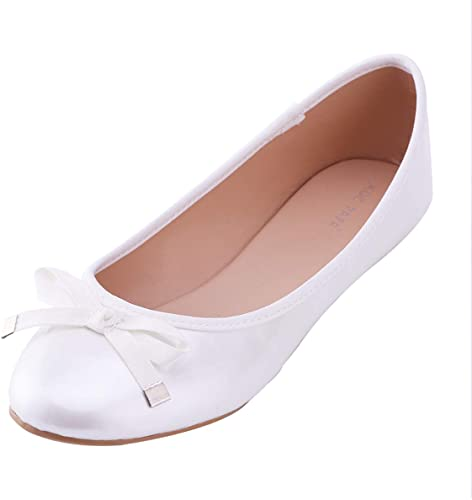Amazon.com | MOC PAPA Girls Kids White PU Ballets Flats with Bow .