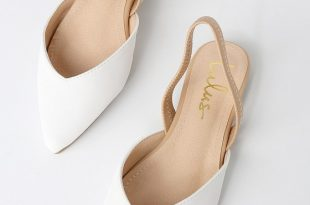 Cute White Flats - Slingback Flats - Pointed-Toe Fla
