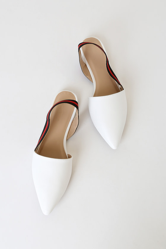 Cute White Flats - Pointed-Toe Flats - Slingback Fla