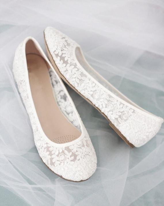 Women White crochet ballet flats - wedding shoes and bridesmaids .