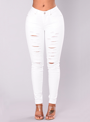 Women's Distressed White Skinny Jeans - Belt Loops / Front Zipp