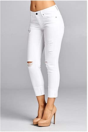 SPECIAL A Women Ankle Skinny White Jeans at Amazon Women's Jeans sto