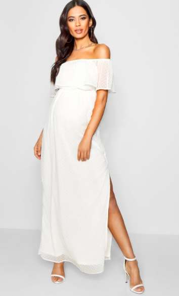 I love this white maternity dress! Maternity Jess Off Shoulder .