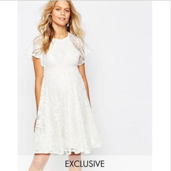 ASOS Maternity Dresses | Asos White Lace Skater Maternity Dress .