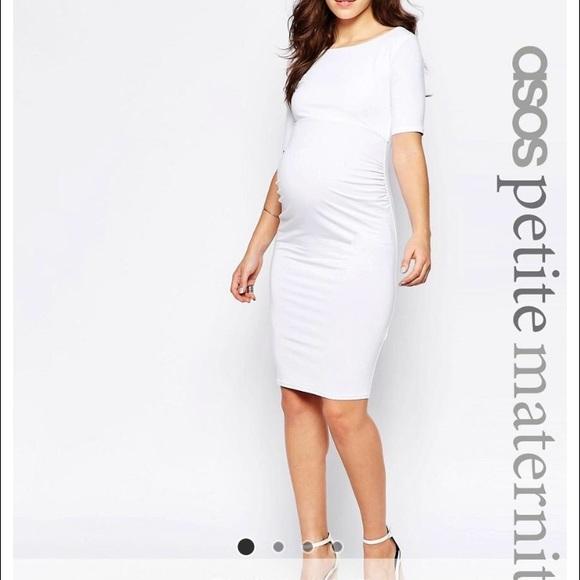 ASOS Petite Dresses | Asos White Fitted Maternity Dress | Poshma