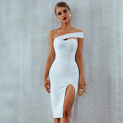 Elegant White One Shoulder Party Dress | Stylish Outfi