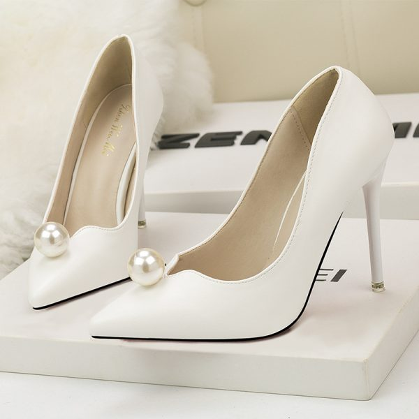 White Pearl Leather Point Toe High Heels Pumps - Heels