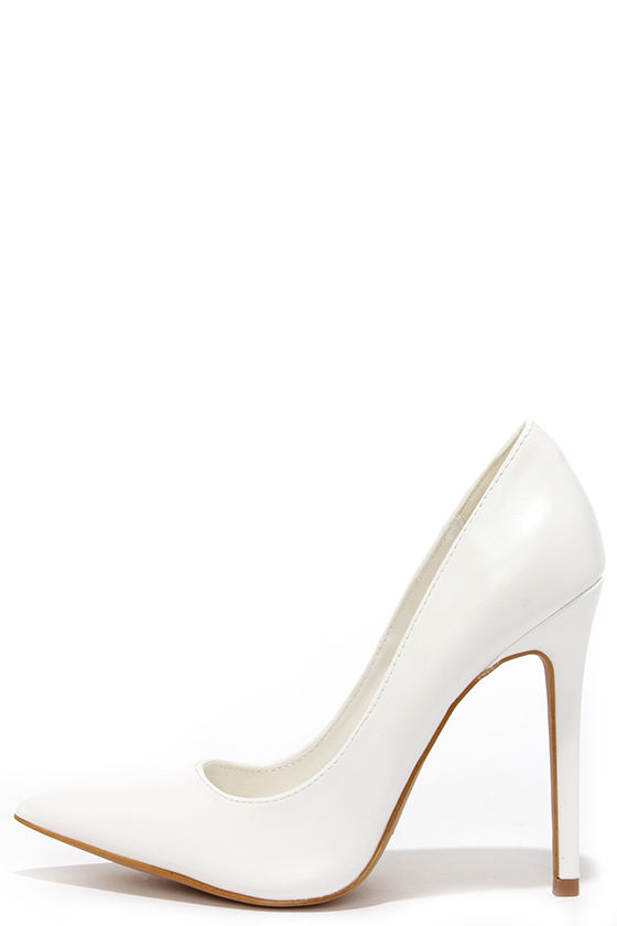 Pretty White Pumps - Pointed Pumps - White Heels - $34.