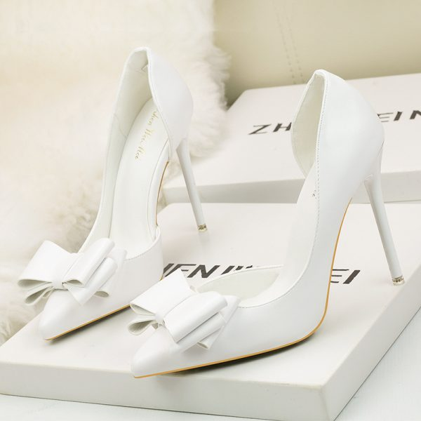 White Bow Leather Point Toe High Heels Pumps - Heels