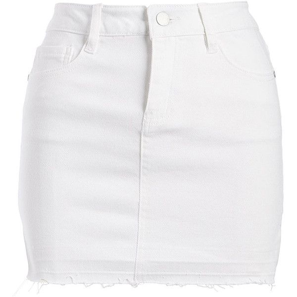 Dollhouse White Denim Skirt ($25) ❤ liked on Polyvore featuring .