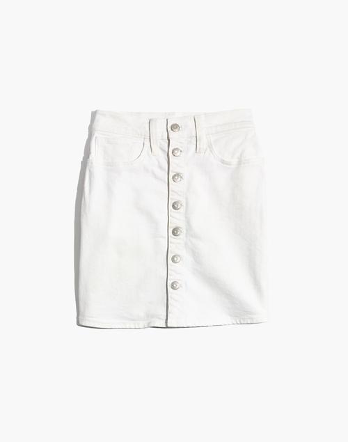 Women's Stretch Denim Straight Mini Skirt in Tile White: Button .