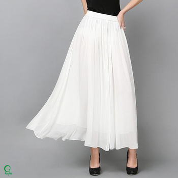 Sk086 Elastic Waistband Women Chiffon Long Plain White Cheap Maxi .