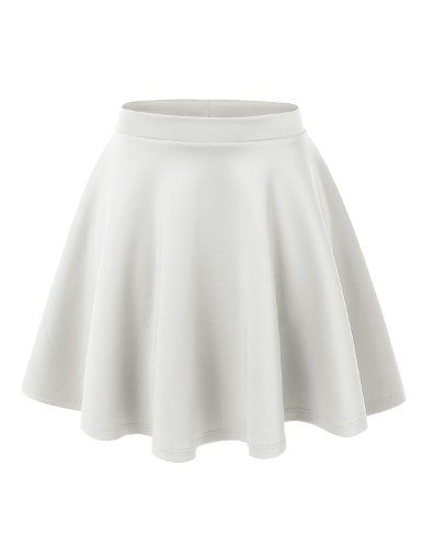 MBJ WB211 Womens Basic Versatile Stretchy Flared Skater Skirt L .