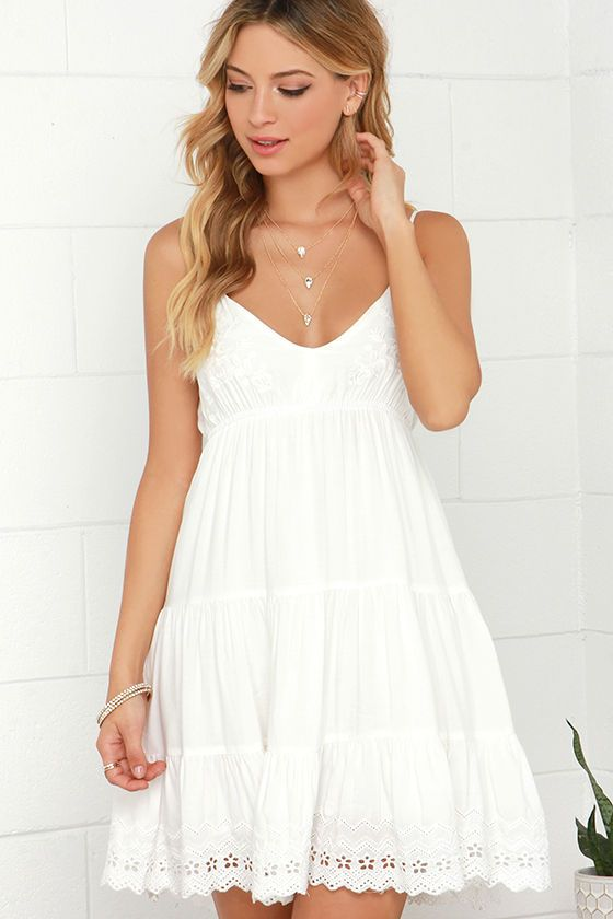 Weightless Wonder Ivory Embroidered Dressat Lulus.com! | White .