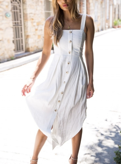 White Summer Strappy Backless Button Down Irregular Solid Color .