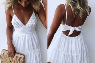2019 Women Sexy V-Neck Lace Summer Bandge Backless Short White .
