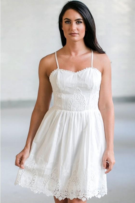 White Eyelet Dress, Cute White Summer Dresses Online, White .