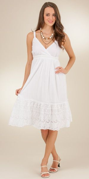 White Dresses - Cotton Adjustable Strap Sundress - Flounce Knee .