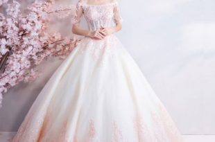 Affordable Champagne Pearl Pink Floor-Length / Long White Wedding .