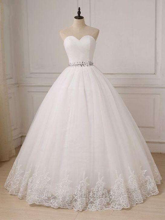 white wedding dress strapless wedding dress tulle ball gown .