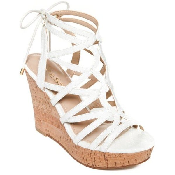 Guess White Huyana3 Cork Wedge Sandals - Women's (3,850 INR .