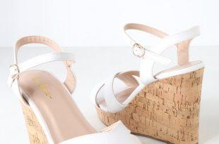Cute White Sandals - Wedge Sandals - Cork Sanda