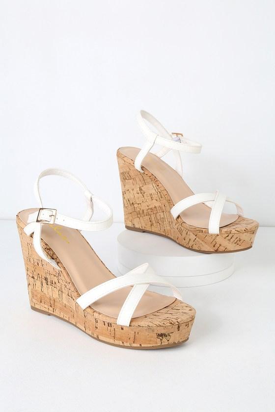 Cute White Wedge Sandals - Vegan Leather Wedge Sandals - Wedg