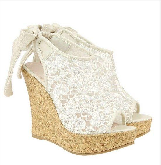 Shoes | Wedge wedding shoes, Lace wedges, Lace sanda