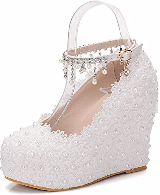 Amazon.com | Crystal Queen Wedges Pumps Heels White Lace Wedding .