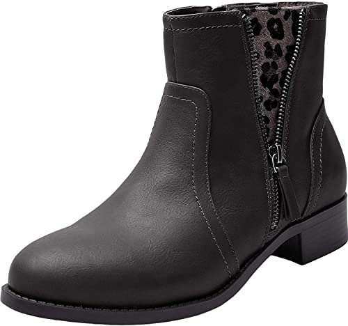 Amazon.com | Women's Wide Fit Ankle Boots - Low Heel Round Toe .