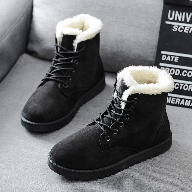 Snow Boots Mid Calf Ladies Winter Boots Women Warm Fur Women Lace .