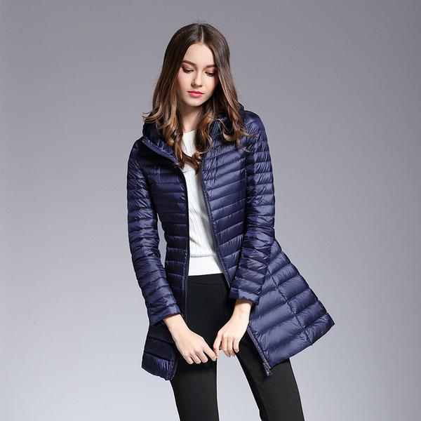 AKITSUMA Long Down Jacket Women Winter Down Coats Ultra Light Down .