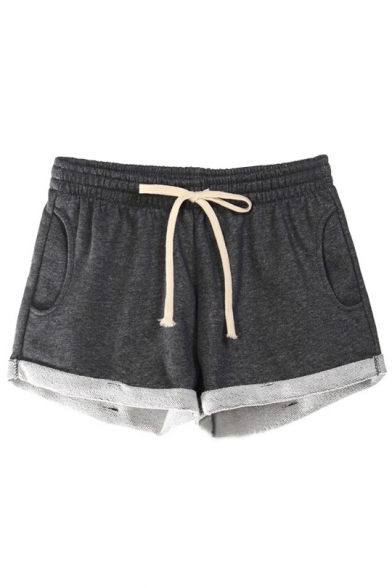 Women's Drawstring Waist Heathered Casual Lounge Jogger Shorts .