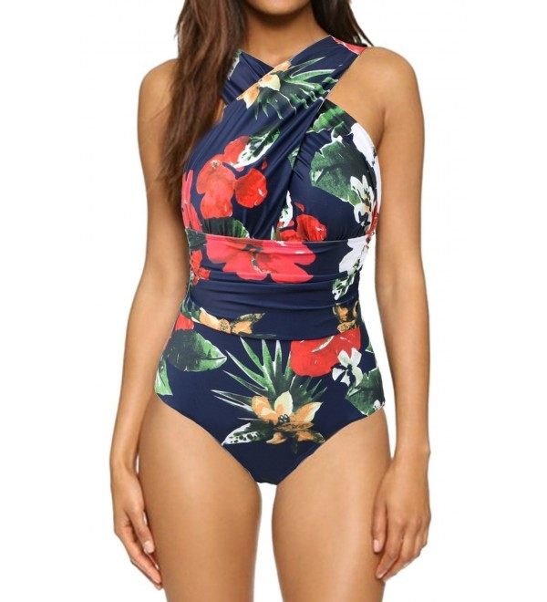 Women's Bathing Suit Front Criss Cross Ruched Backless One Piece .