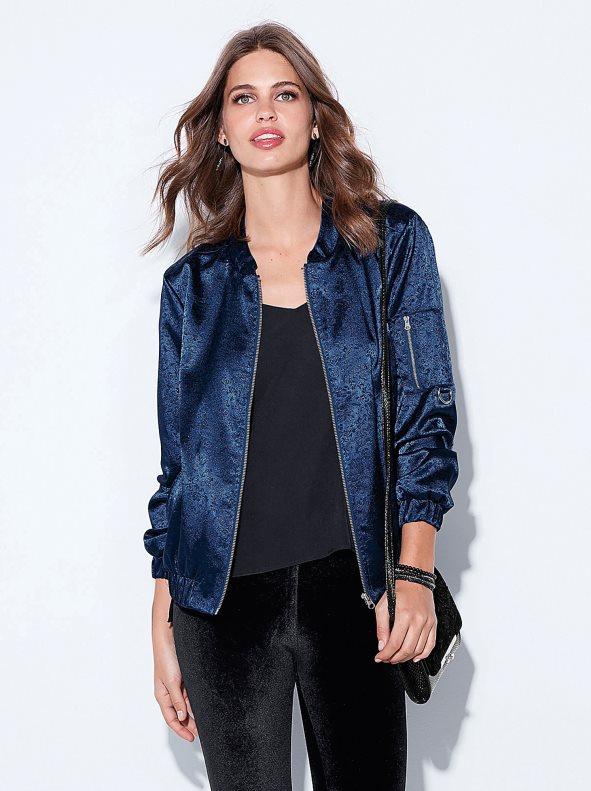 Women's bomber jacket in jacquard satin with zip Venca - Venca .