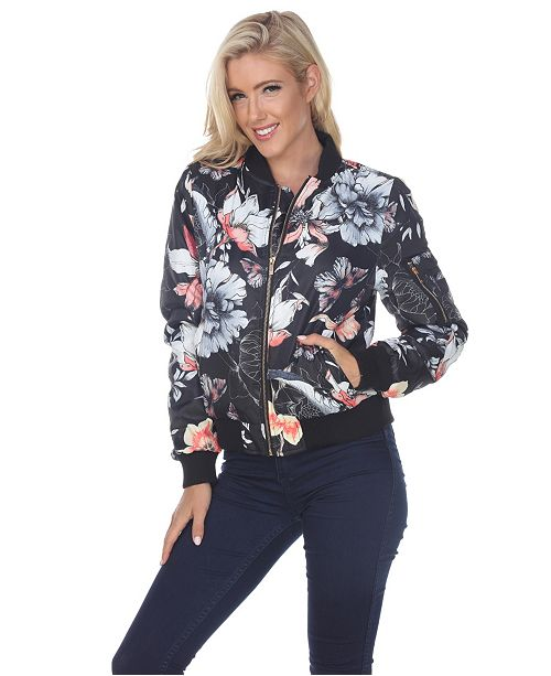 White Mark Women's Floral Bomber Jacket & Reviews - Jackets .