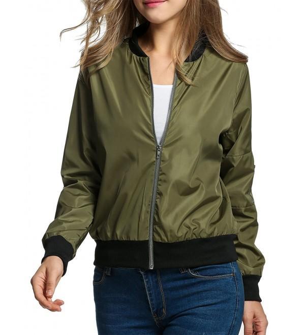 Women's Bomber Jacket Classic Zip Up Biker Vintage Short Jacket+ .