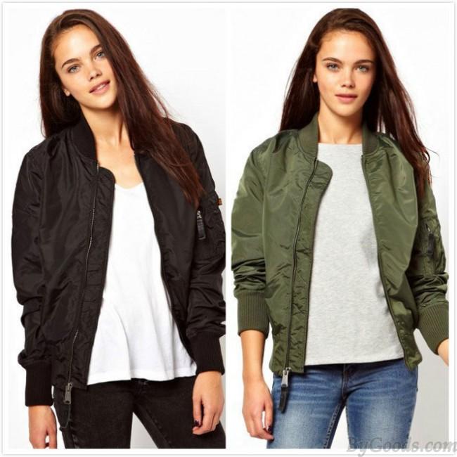 Women's Bomber Jacket Basic Jacket Biker Outwear Winter Coat .