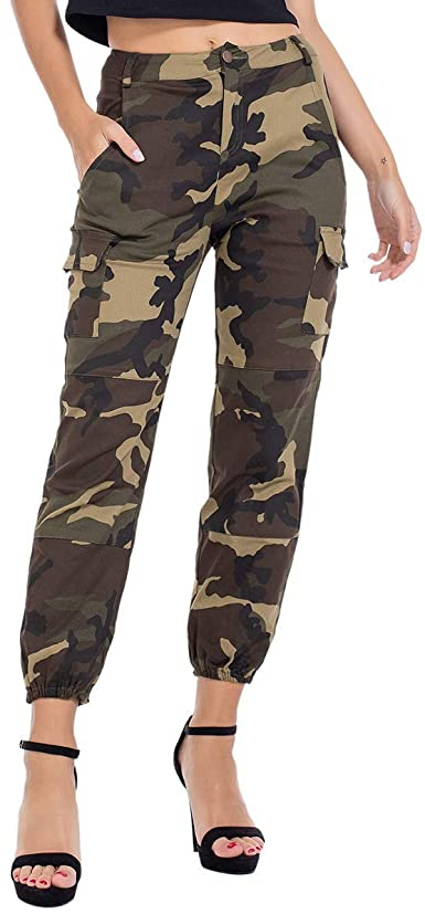 Women Camo High Waist Cargo Jogger Pants Slim Trousers with Side .