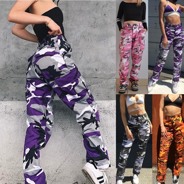 Trendy Women Camo Cargo Trousers Military Army Combat Camouflage .