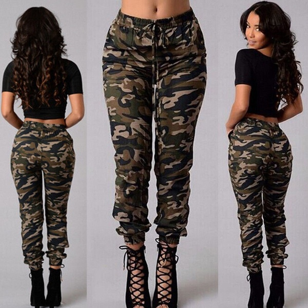 Women Camouflage Pants Camo Casual Cargo Joggers Military Army .