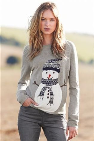 Ladies grey jumper with snowman ⋆ Christmas Jumpers, Women's .