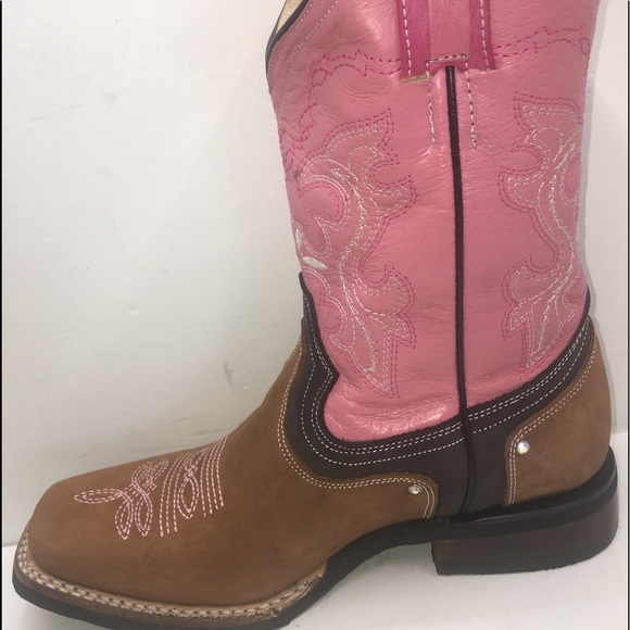 Carreta Shoes | Womens Cowgirl Boots Brown Pink | Poshma
