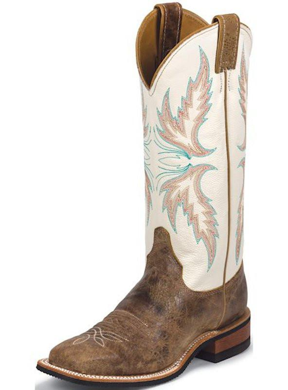 Justin Womens Bent Rail Tan and Ivory Square Toe Cowgirl Boots .