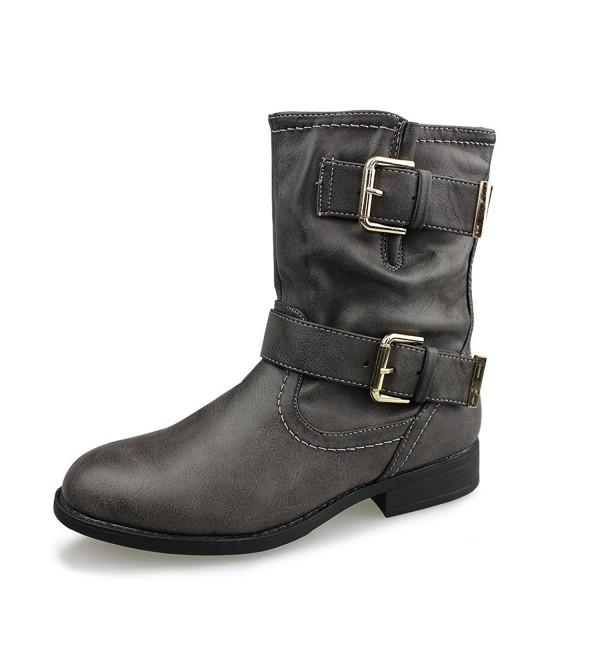 Women's Buckle Mid Calf Boots - Dark Grey - CD186RY4D
